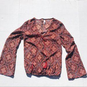 Xhilaration Rust Colored Print Peasant Tie Top